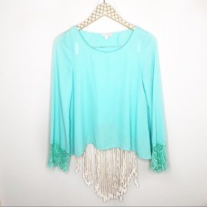 GB Mint Long Sleeve Lace Open Back Blouse